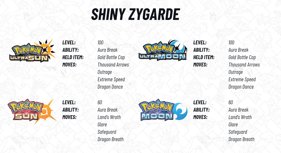2018 Legendary Pokemon Distribution Shiny Zygarde