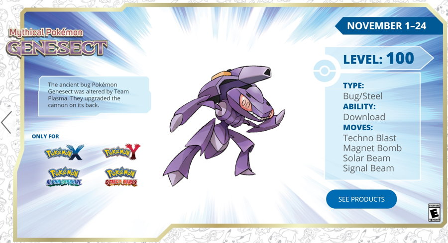 Get a Level 100 Genesect via GameStop Until November 24
