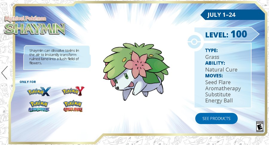 Get a Level 100 Shaymin via Nintendo Network until July 24