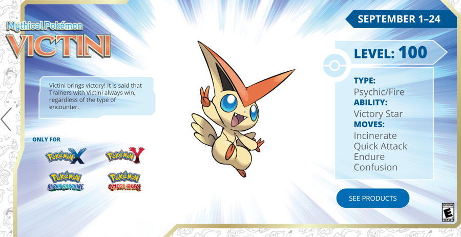 Get a Level 100 Victini via Nintendo Network Until September 24