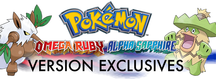 Pokemon Omega Ruby Alpha Sapphire Version Exclusives